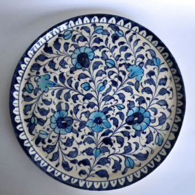 Multani Hand Painted Pottery Plant Tray Platter Blue White Flower Floral 10-1/2″